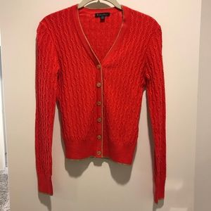 Brooks Brothers Red and Gold Cardigan Sweater